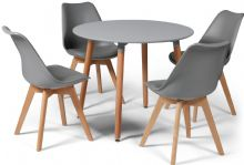 Toulouse Dining Set  - 90cms Round Grey Table & 4 Grey Chairs